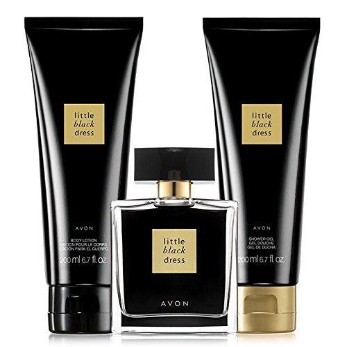 (Avon little black dress 3 piece perfume, shower gel & body lotion gift)