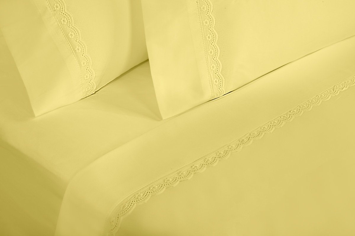 Eyelet Premium Yellow Sheets | Full Size Brushed Microfiber 4-Piece Sheet Set | Lightweight, Soft, Deep Pocket, Lace Embellishments, Wrinkle Resistant & Fade Resistant with 30 Day -  LUXURY SHEET SETS WITH ELEGANT LACE EMBELLISHMENTS  Don't buy plain sheets, buy sheets with elegant embellished detail. The lace embellishment detail on the pillowcases and flat sheet, help give your sheet set the perfect amount of decoration to set them apart from plain sheets. ️ HIGH QUALITY MICROFIBER FOR SUPER SOFT FEEL ️ Our 100% polyester brushed microfiber imported sheet sets are made with the highest quality microfiber and craftsmanship to give them a silky soft feel that is durable. These super soft sheet sets were made to be wrinkle resistant, fade resistant, and stain resistant, so that your sheets will stay looking like new. ️ HYPOALLERGENIC DEEP POCKET SHEETS THAT STAY IN PLACE ️ Our hypoallergenic sheets have an anti-dust mite treatment and have easy care instructions making them allergen free! Featuring a 12-inch drop, these deep pocket sheets will stay in place all night long. - sheet-sets, bedroom-sheets-comforters, bedroom - 51P9VCaoNdL -