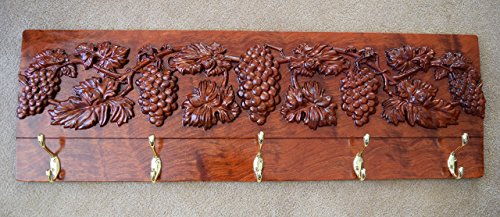 #2977 Decorative Coat Rack, Bubinga Wood with Carved Grapes, Brass Hooks.