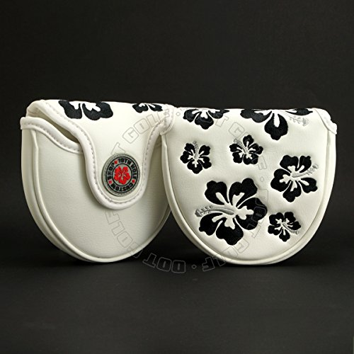 19th Hole Custom Shop Hibiscus Mallet Putter Head Cover, Heel Shafted, White, Golf Head Cover
