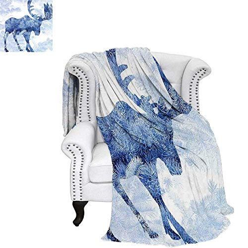 "WilliamsDecor Moose Blanket Blue Pattern Pine Needles Spruce Tree with Antlers Deer Family Snow Winter Horns Warm Microfiber All Season Blanket 70""x60"" Blue White"