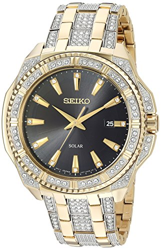 Men's Crystal Solar Japanese-Quartz Watch with Two-Tone-Stainless-Steel Strap, 21 (Model: ) - Seiko SNE458