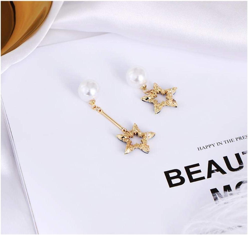 SGDBBR Femme Boucles doreilles pendantes Bijoux Boucles doreilles en perles /étoiles creuses /à cinq branches pour femmes avec boucles doreilles au temp/érament arrondi Boucles doreilles asym/étriques