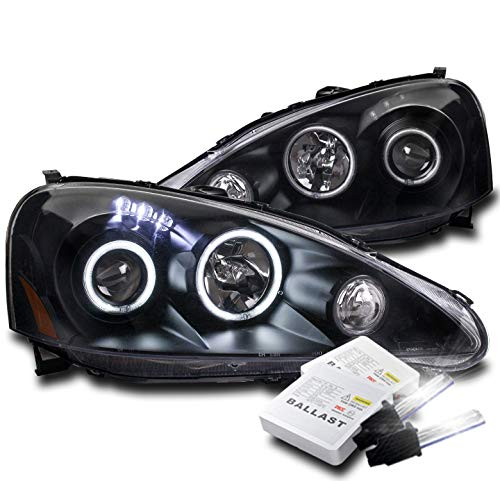 ZMAUTOPARTS 2005-2006 Acura RSX CCFL Halo LED Black Projector Headlights Lamps with 8000K HID Conversion ()