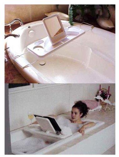 Plateau de bain avec construit dans le livre Prop, porte-savon et porte-verre vin