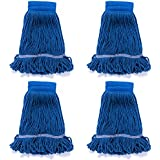 "QIPENG 4 Pack 18"" Commercial Mop Heads Wet Saddle Mop Head Refill, Cotton/Synthetic, Large Size, for Home, Commercial, and Industrial Use, Blue"