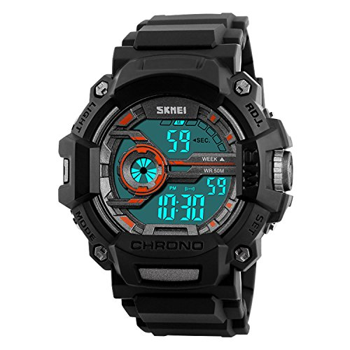 Round Dial Shining (Mens Digital Sport Watches Military LED Waterproof Casual Army Outdoor Black Men's Watch)