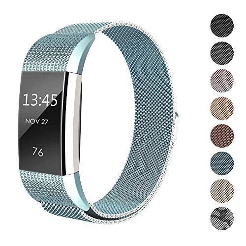 SWEES Metal Band for Fitbit Charge 2 Bands, Milanese Loop Stainless Steel Magnetic Wristband Bands for Fitbit Charge 2 Small Women, Black, Rose Gold, Silver, Colorful, Champagne