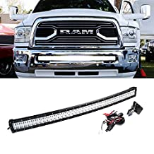 """iJDMTOY Extremely Bright 40""""-42"""" Curved 240W High Power LED Light Bar w/ Lower Bumper Mounting Bracket & Wirings On/Off Switch For 2010-2017 Dodge RAM 2500 3500"""