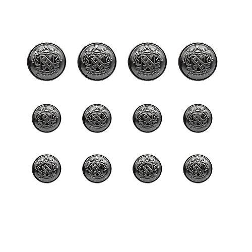 12 Pieces Antique Shield Metal Blazer Button Set - Outwear, Suits, Sport Coat, Jacket DIY Buttons (Antique Silver) (Antique Button Small)