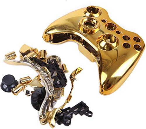 Chrome Plating Full Housing Case Cover Shell for Xbox 360 Wireless Controller (Chrome Gold)