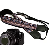 Lucky Elephants camera strap. Blue and beige Ethnic camera strap. Black DSLR / SLR Camera Strap with Indian motives. Durable, light weight and well padded camera strap. code 00180