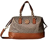 Tommy Hilfiger Women's Almira Small Convertible Satchel Tan/Dark Chocolate One Size