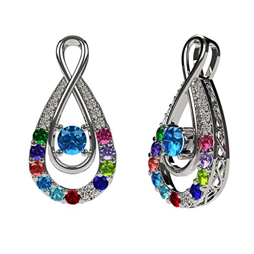 "NANA Yours Infinity Mother & Child Pendant 1-12 stones with a 1mm 22"" Adj. Chain- Silver Platinum Plated"
