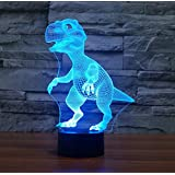 Dinosaur 3D Night Light Touch Table Desk Lamp,Borang 7 Colors 3D Optical Illusion Lights with Acrylic Flat & ABS Base & USB Charger for Christmas Gifts