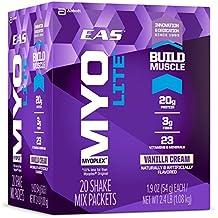 EAS Myoplex Lite Protein Shake Mix Packets, Vanilla Cream, 1.9 oz packets, 20 servings