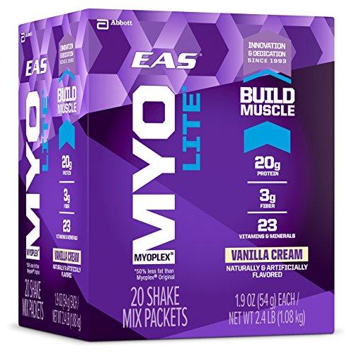 EAS Myoplex Lite Protein Shake Mix Packets, Vanilla Cream, 1.9 oz packets, 20 (Eas Protein Shake)