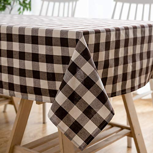 Aquazolax Chic Oxford Tablecloth Machine Washable Table Covers for Rectangular Buffet and Picnic Table, 54 x 84 inch Brown