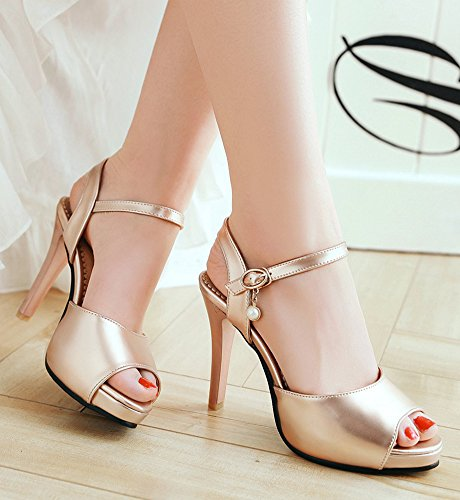 Aisun Women's Daily Peep Toe Ankle Strap Sandals Shoes Gold RkOUFUMfP