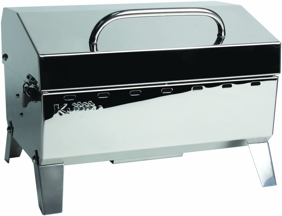 Kuuma Premium Stainless Steel Mountable Gas Grill w Regulator by Camco -Compact Portable Size Perfect for Boats, Tailgating and More – Stow N Go 125 58140