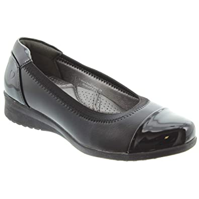 986d6164c8c5 Heavenly Feet - Crackle Flat Shoes in Black Patent: Amazon.co.uk ...