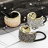 DEEKA Rhinestone Glitter Ponytail Holder Cuffs Elastic Hair Tie Band Pack of 3 for Women