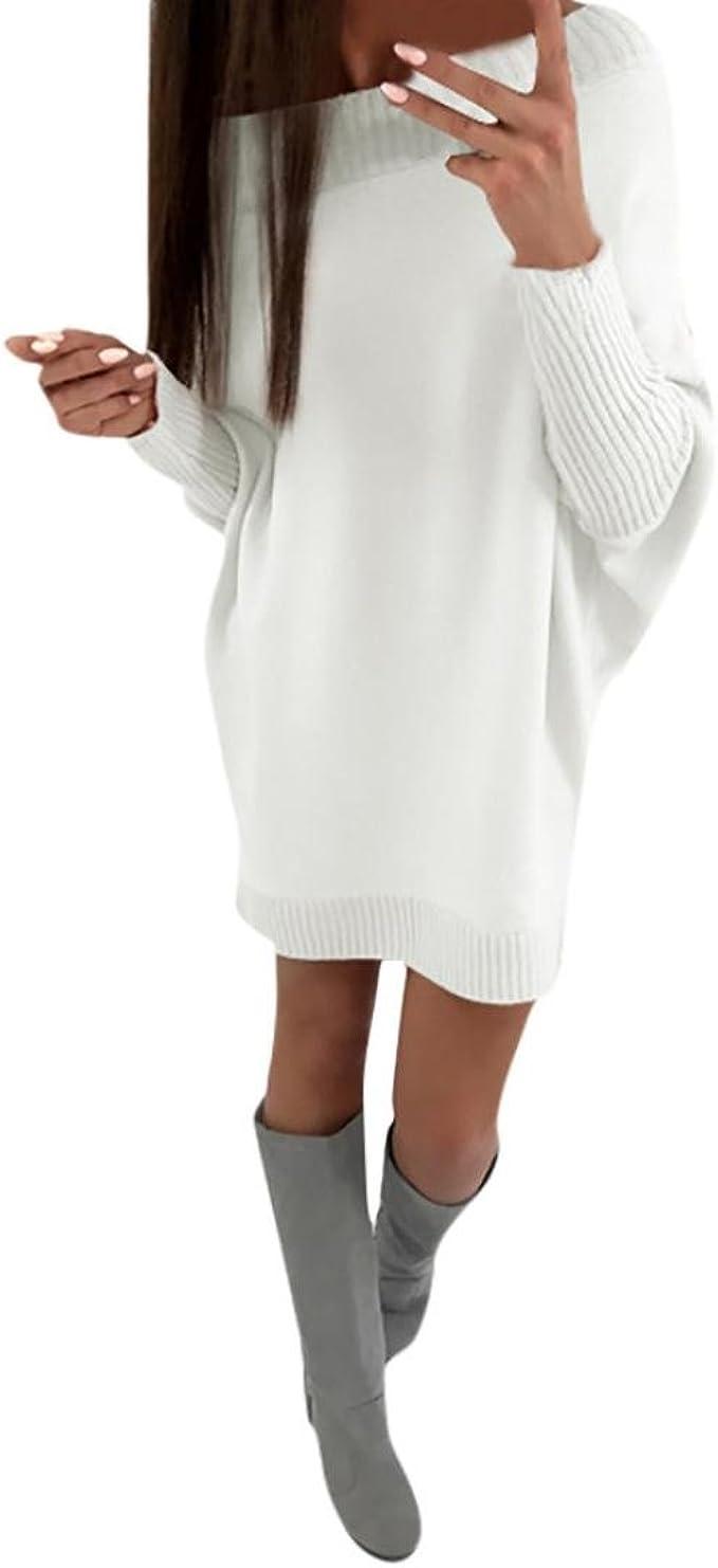 Yesmile Damen Kleider Solid Langarm Abendkleider Mode Hemdkleid Damen Mini Tasche Lose Elegant Festliche Kleider Damen Lange Beiläufige Pullover Kleid