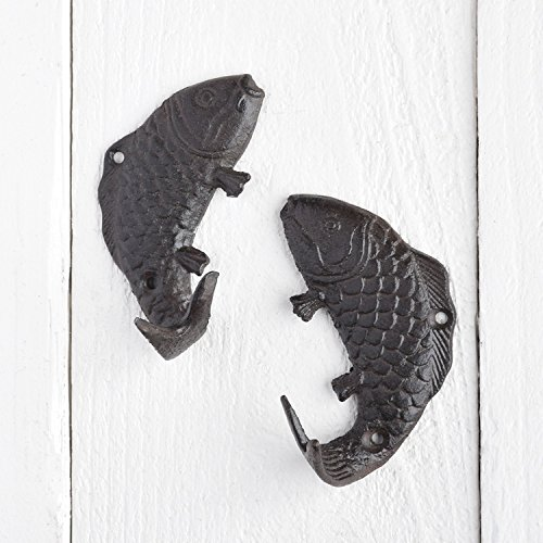 Set 4 Mini Cast Iron Fish Wall Hooks | Hanger Coastal Fishing - Cast Iron Fish