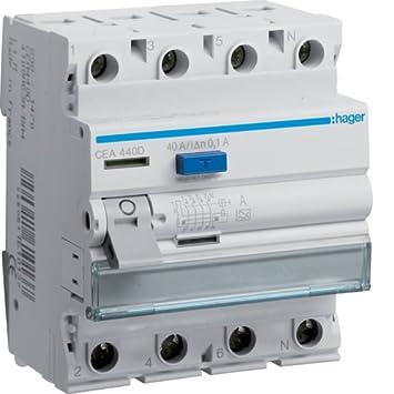 Hager CDA440D Fi-Schalter 4-polig 6kA 40A 30mA Typ A Fehlerstromschutzschalter
