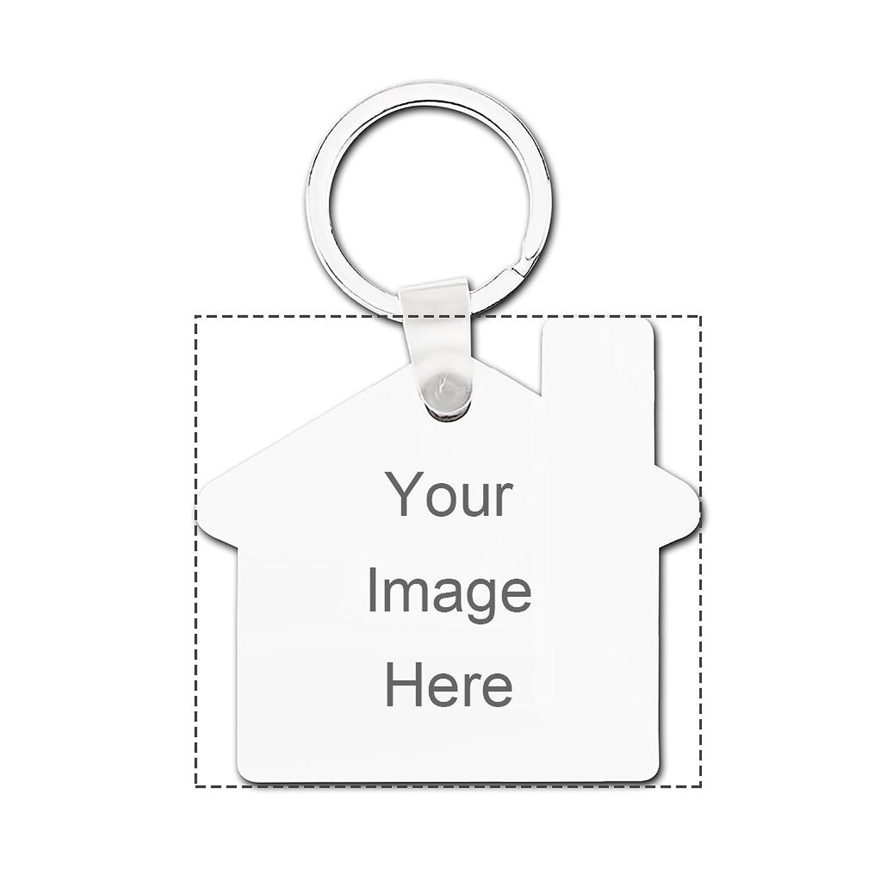 Design Prinablet photo or text Keychains Custom Personalized Hardboard House Keychain Set