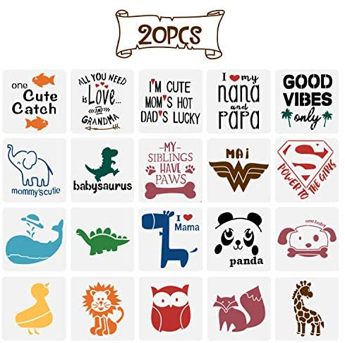 20 Pack Onesie Stencil Kit, Mixed Animals Pattern Painting Stencils Baby Shower Onesie Decorating Reusable Templates for Painting on Fabric Bodysuit Bags Shirts Shoes Bibs Home Décor