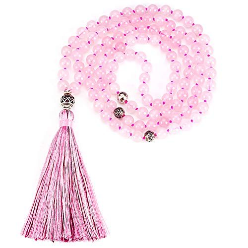 Cherry Tree Collection Mala Necklace | 108 Hand-Knotted 8mm Gemstone Round Beads, Antiqued Guru and Counter Beads, and Tassel | Meditation, Buddhist Prayer, Healing (Rose Quartz)