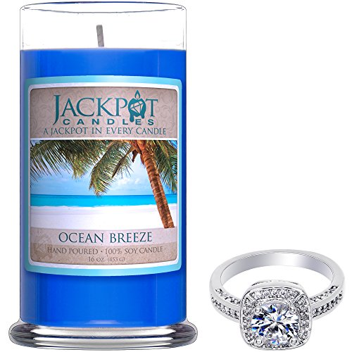 Ocean Breeze Candle with Ring Inside (Surprise Jewelry Valued at $15 to $5,000) Ring Size 7