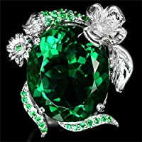 khamchanot Gemstone 2.3ct Emerald Women Men 925 Silver Ring Wedding Cocktail Size 6-10 (7)