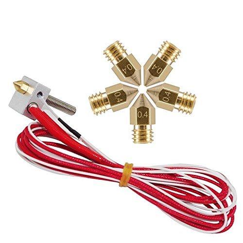 Tenlacum DIY MK8 Extruder Hot End Part Assembled + 0.4mm Nozzle for RepRap 3D Printer 1.75mm Filament (12V 40W Heater)