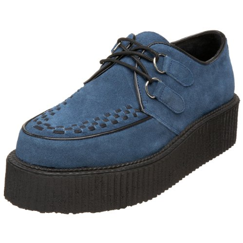 Demonia Par Pleaser Mens Creeper 402s Lace-up Daim Bleu