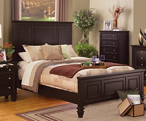 Finish Mirror Modern Cappuccino - Modern Sandy Beach Collection Bedroom High HB FB Panel Eastern King Size Bed w Matching Dresser Mirror Nightstand 4pc Set Cappuccino Finish