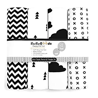 Changing Pad Cover – Premium Baby Changing Pad Covers 4 Pack – Boy or Girl Changing Pad Cover – Pure Cotton Machine Washable Black and White Changing Table Cover – Diaper Changing Pad Cover Sheets