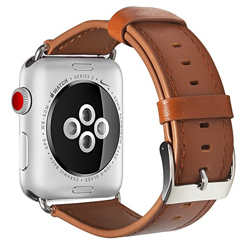 Compatible with Apple Watch Band, COVERY 42MM Watch Band Genuine Leather Strap Stainless Metal Buckle Compatible Apple Watch Series 3, Series 2, Series 1, Sport & Edition- Brown by COVERY (Image #4)