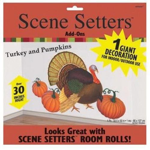 Thanksgiving Fall Scene Setters Turkey Pumpkins Wall Decoration Party School Fun