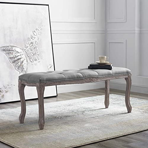 Modway Regal Vintage French Upholstered Bench in Light Gray