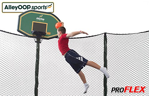 JumpSport Proflex Basketball Hoop Accessory & Inflatable Ball for Trampoline | Fits AlleyOOP, Elite Classic Safety Enclosures (AlleyOOP) | Trampoline Sold Separately