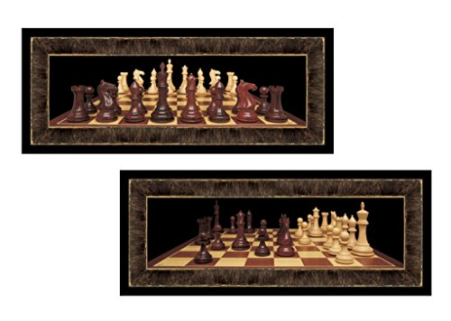 Set of 2 Chess Board Games Photographs Art Prints Posters Man Cave 6x18 Inches Home Office Decor