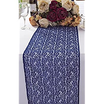 Wedding Linens Inc. Wholesale 12 In X 108 In Floral Raschel Lace Table  Runner Wedding