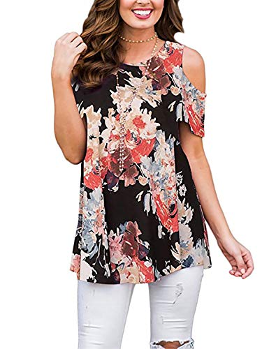 Viracy Womens Blouses and Tops for Work, Ladies Cold Shoulder Tunic Short Sleeve Floral Print Bohemian T-Shirts Blouses Breathable Elegant Vintage Clothes Flowy Hemline Formal Black Flower XL