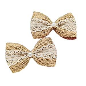 Yalulu 10Pcs Rustic Bowknot Wedding Burlap Hessian Jute Vintage Decor Hair Bow/Hat Accessory Craft 65