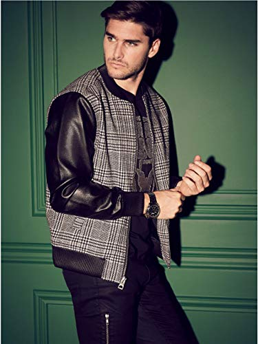 (GUESS Men's Houndstooth-Panel Bomber Jacket)