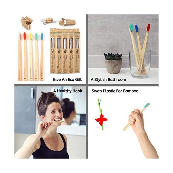 BAMBOOGALOO Brosses à Dents en Bambou Biologiques   5 pack   Bamboo Cotton Buds & Floss Dentaire GRATUIT   Premium UK…