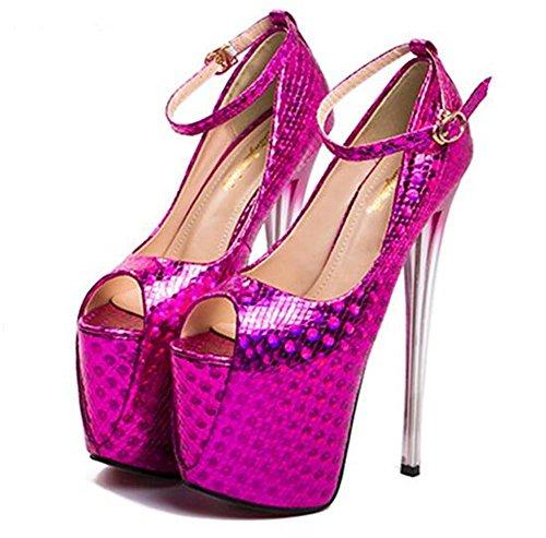 Fête et pour xie femmes forme Chaussures à club sandales cheville aiguille 41 Talon de Plate 35 Sangle Des EU35 PINK Pompes soirée Taille ppWXr