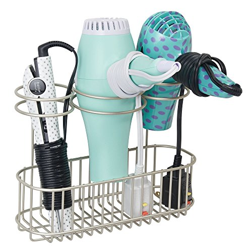 mDesign Wall Mount Bathroom Hair Care & Hot Styling Tool Org